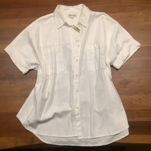 NWT! Madewell White Cotton Courier Shirt Size L